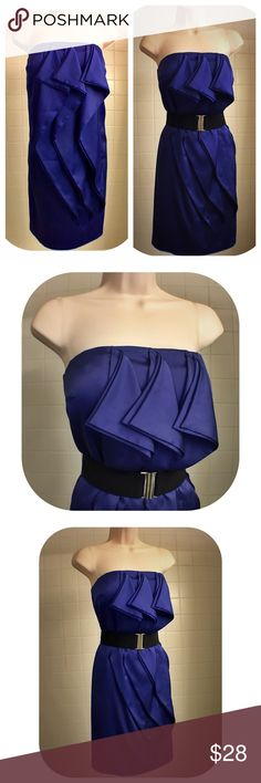 """Gianni Bini Royal Purple Strapless Dress w/Ruffles Thins stunning royal purple strapless dress w/ ruffles by Gianni Bini is perfect for any special occasion or night out.  The dress is fully lined, w/ a back zip & bones corset, as well as grip lining the inside top of the dress to hold it up/ keep its shape & a built in adjustable bra w/ closures for support. The dress came w/a belt, which I no longer have. Different, cute looks when worn w or w/o belt/sash. 96% polyester, 4% elastane. 30""""…"""