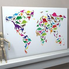 Multi-coloured on White Background Dinosaur World Map large canvas £63