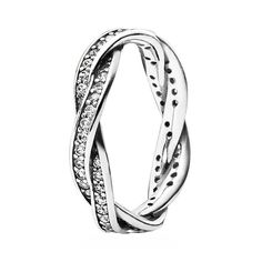 Pandora Ring Sterling Silver Amp Cubic Zirconia Ribbon Of