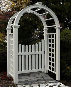 New England Arbors Decorative Nantucket Deluxe Garden Patio Arch w/ GATE