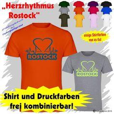 T-Shirt  Herzrhythmus Rostock  individuell gestaltbar mit Flexdruck