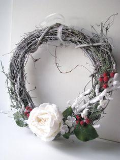 Door Wreath Woodland Frost with White Rose and door BellaMiaDesign