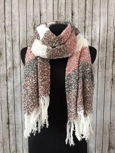 Pink brown cream mohair tassel scarf by NativeBabydoll on Etsy