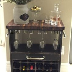 IKEA RAST Dresser Hack becomes an incredible wine cart - truly amazing completed by Hello I Live Here and sponsored by PPG and Hickory Hardware. Ikea Furniture, Painted Furniture, Furniture Makeover, Furniture Ideas, Ikea Rast Dresser, Wine Cart, Ikea Malm, Hickory Hardware, Decoration