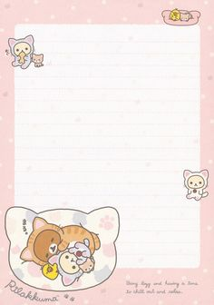 Pen Pal Letters, Cute Letters, Kawaii Stationery, Stationery Paper, Rilakkuma Wallpaper, Memo Notepad, Note Doodles, Note Memo, Printable Scrapbook Paper