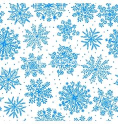 Hand drawn snowflakes seamless pattern vector by Baksiabat on VectorStock®