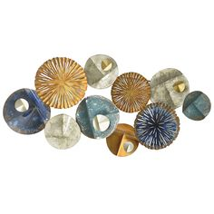 Three Hands Abstract Circles Metal Wall Decor In Neutral Color Tones