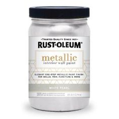 Rust-Oleum White Pearl Metallic Paint creates a shimmery, iridescent finish that interacts with light to heighten the beauty of the color. With its easy, one-step application; Metallic Paint Walls, Rustoleum Metallic, Silver Metallic Paint, Metallic Painted Furniture, Chalk Paint Furniture, Metallic Colors, Diy Furniture, Glitter Paint, Rustic Furniture
