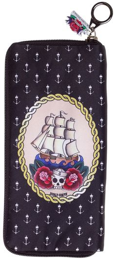 JUBLY UMPH SAILING SHIP WALLET  Headed out for a fantastic voyage? Original artwork by Jubly Umph of a ship surrounded by a rope frame on a background of anchors is printed on a micro fiber exterior. This wallets' nylon interior features 12 card spaces, 3 bill spaces, and a zip coin pouch. Rest assured your money will be safe with the full zip closure. $30.00 #jublyumph #wallet #ship #sailor #nautical #anchors