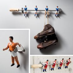 Upcycling table soccer (foosball) parts - Clever Soccer Decor, Soccer Room, Football Decor, Table Football, Baby Foot, Kidsroom, Boy Room, Kids Bedroom, Little Boys