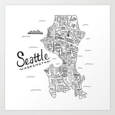 Seattle Art Print by Claire Lordon - $20.00