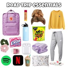 Travel Packing Checklist, Road Trip Packing List, Road Trip Hacks, Packing Tips, Road Trip Checklist, Travel Bag Essentials, Road Trip Essentials, Teen Trends, Roadtrip