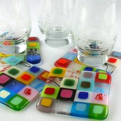 Patches Glass Coaster Set...Great Gift by AtlantisDesigns on Etsy, $60.00