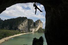 Rock climbing in #Krabi looks fun and/or scary! #rockclimbing