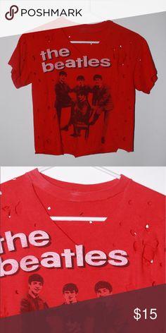 The Beatles Distressed Tee Has built in choker. Originally cut and handmade. Tops Tees - Short Sleeve