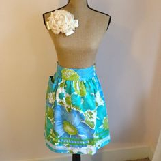 Upcycled Vintage Fabric Half Apron - Teal and Lime Green Floral Print with ZigZag Trim and Pocket