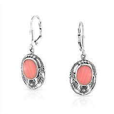 Bling Jewelry Pink Synthetic Coral Flower Leaf Silver Leverback Earrings -- Want additional info? Click on the image.