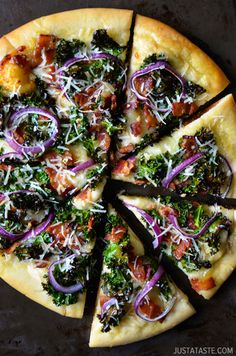 Garlicky Kale and Bacon Pizza | justataste.com | #color #foodstyling #composition