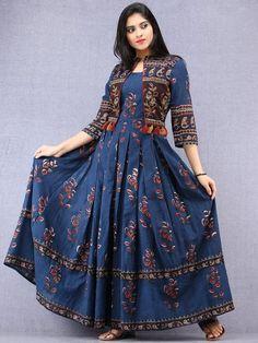 Indigo Brown Red Hand Block Printed Long Cotton Tie Up Waist Dress - D – InduBindu