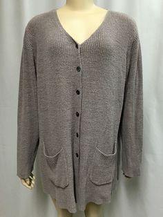 J. Jill Cardigan Sweater XL Oversized Light Purple Linen Cotton Medium Knit Top #JJill #Cardigan