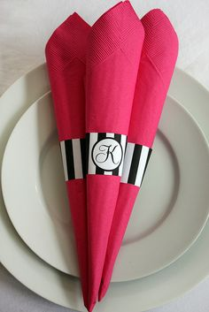 Printable Striped Paper Napkin rings with Monogram...maybe we could use a small version of our logo? :)