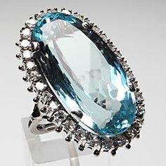 RETRO VINTAGE AQUAMARINE & DIAMOND COCKTAIL RING SOLID PLATINUM