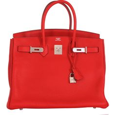 Pre-Owned Hermes Birkin Bag 35cm Red Rouge Casaque Palladium hardware (€20.715) ❤ liked on Polyvore featuring bags, handbags, sac, rouge, red leather purse, red hand bags, leather handbag purse, genuine leather purse and red leather handbags