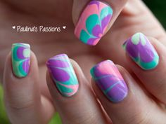 I have made you a collection of 16 amazing water marble nail art designs and and a super simple tutorial for how to do them. Fancy Nails, Cute Nails, Pretty Nails, Colorful Nail Art, Cool Nail Art, Water Marble Nail Art, Nails Only, Nail Decorations, Fabulous Nails