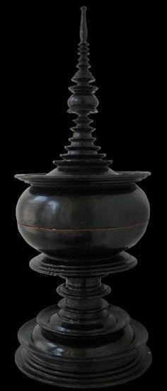 Black Lacquer Offering Vessel (Hsun Ok) Kyaukka, Upper Burma  circa 1900
