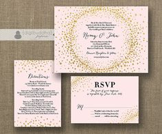 Blush Pink & Gold Glitter Wedding Invitation 3 piece suite including info card and RSVP by digibuddhaPaperie, $55.00