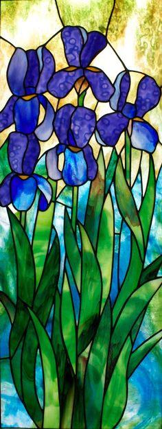 Framed Stained Glass Panel – Blue Iris kennedyoriginalstainedglass.com