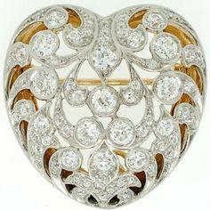 Tiffany & Co. Art Nouveau Diamond Heart Pin/Pendant