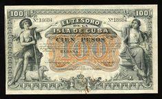 Cuba banknotes 100 Pesos Treasury Note of 1891.