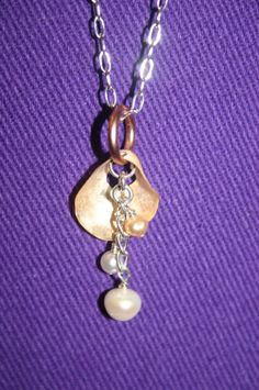 Pearl and Sea Shell Necklace by DharmaJewelry on Etsy, $29.00