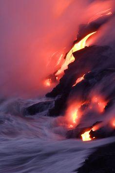 Lava Meets Ocean - Kilauea - Big Island, Hawaii