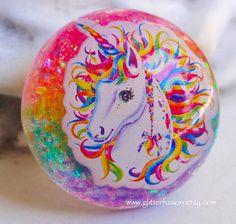 Rainbow Unicorn Vintage 90's Lisa Frank Resin Bubble Ring