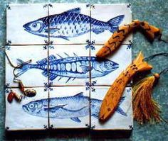 Delft tile :: fish - Handmade tiles can be colour coordinated and customized re. shape, texture, pattern, etc. by ceramic design studios