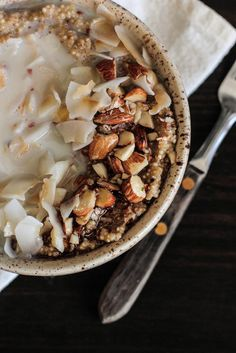 (Use almond milk, and sweeten with stevia) Coconut Almond Quinoa makes a big batch for warm, comforting breakfasts all week long. Use 1/2 cup of the quinoa per serving.