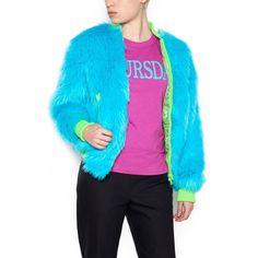 ALBERTA FERRETTI Eco Fur Bomber Jacket (€695) ❤ liked on Polyvore featuring outerwear, jackets, alberta ferretti, light blue bomber jacket, blue bomber jackets, bomber jackets and fur jacket