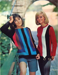 Stripes + Stripes is a pair of womens vintage pullover sweater patterns, from Columbia Minerva booklet ★ Sweater sizes (shown left): 60s And 70s Fashion, Retro Fashion, Vintage Fashion, Classic Fashion, Womens Fashion, Vintage Girls, Vintage Outfits, 1960s Dresses, Thrift Fashion