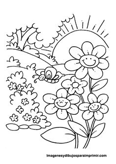 Free Printable Coloring Pages Nature Coloring Pages Nature, Spring Coloring Pages, Flower Coloring Pages, Coloring Pages To Print, Free Printable Coloring Pages, Coloring Book Pages, Free Coloring, Spring Drawing, Coloring Sheets For Kids