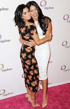 Jane the Virgin stars Diane Guerrero and Gina Rodriguez embraced at the Nuevas Latinas Living Fabulosa Launch in New York City on March 25.