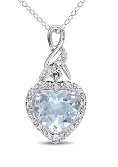 0.06ct Diamond and 1 3/4ct Aquamarine Heart Pendant ♥✤   Keep the Glamour   BeStayBeautiful