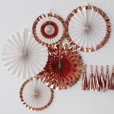 Paper Fan Rose Gold Decorations (Pk5)