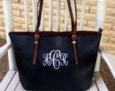 Monogram Purse Bag Tote/ Monogram Black by SassyClassyMonogram