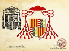 Mons. Luis de Aragón - Coat of arms #vabldesign #design #ecclesiastical #heraldry #coatofarms #shield #cardinal