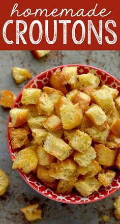 This Homemade Croutons Recipe, made from fresh bread, is delicious and easy to customize to your favorite flavors!