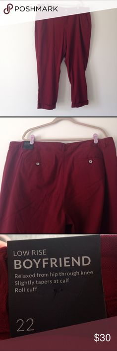 NWT Lane Bryant burgundy pants Lane Bryant burgundy pants, boyfriend cut/style, size 22, inseam 29 inches with rolled cuff (can unroll cuff), very soft.       🛍NO HOLDS 🛍NO TRADES 🛍REASONABLE OFFERS CONSIDERED (if you offer 50% or more off my asking price that is insulting) 🛍All items are packaged with care and shipped out in 1 day 🛍Please leave me questions if you have any! Lane Bryant Pants