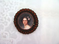 brown brooch with lady portrait - lightweight brooch - brown felt - free shipping - victorian style brooch - gift for her
