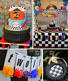 Two lledega Race Car Party with Lots Really Cool Ideas via Kara's Party Ideas |